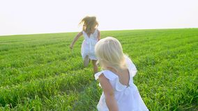Dwa blond małej ślicznej dziewczyny biega na w białych sukniach zielenieją pole i ono uśmiecha się Siostry, childs, żartują bieg  zbiory wideo