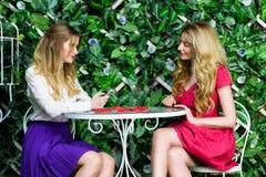 Dwa blondynki dziewczyny gawędzi zabawę i ma w kawiarni Zdjęcia Royalty Free