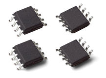 Dwa boczna makro- fotografia microcontroller układ scalony w SOIC SOP8 pakunku Zdjęcie Stock