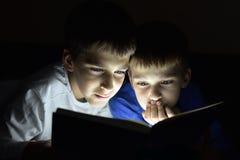 Dwa brata czyta książkę Obrazy Stock
