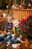 Dwa brata w jesień parku Obraz Stock