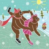 Dwa brown niedźwiedzi łyżwiarki jeździć na łyżwach. Ilustracja Ilustracja Wektor