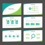 Dwa brzmienia Infographic elementów ikony prezentaci zielonego szablonu płaski projekt ustawia dla reklamowej marketingowej brosz Zdjęcie Stock