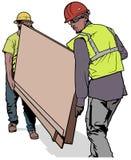 Dwa Budują pracownika Niesie Drewnianą deskę Fotografia Stock