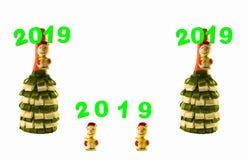Dwa butelki dekorującej z faborkami na białym tle obrazy royalty free
