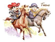 Dwa cakla są podróżni przez Teksas ilustracja wektor