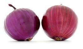 Dwa cebuli z czerwonym i purpurowym czyścą gładkie skóry odizolowywać Zdjęcia Stock