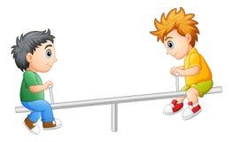 Dwa chłopiec bawić się na seesaw ilustracji