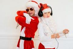 Dwa chłopiec udaje jest Zły Santa Obraz Royalty Free