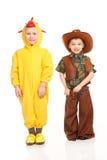 Dwa chłopiec w kostiumach Obrazy Royalty Free