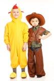 Dwa chłopiec w kostiumach Fotografia Royalty Free