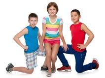 Dwa chłopiec i jeden dziewczyna Obraz Royalty Free
