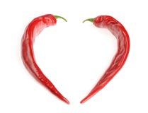Dwa chili pieprzu target603_0_ kształt serce Obraz Stock