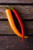 Dwa chili pieprzu z różnymi kolorami Zdjęcia Stock