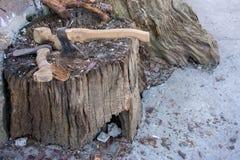 Dwa cioski w wietrzejącym fiszorka drzewie pojęcia niebezpieczeństwa odosobniony biel Ośniedziały narzędziowy tło Drewniana ciosk Zdjęcia Royalty Free