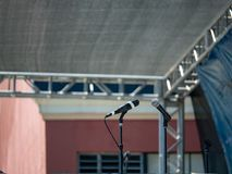 Dwa cyfrowego mikrofonu na scenie stawia czoło each inny pod canop fotografia royalty free