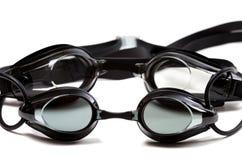 Dwa czarnego gogle dla pływać na białym tle Fotografia Royalty Free