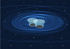 Dwa Czarnej dziury Wciela i Tworzą grawitacyjne fala Zdjęcie Stock