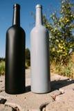 Dwa czarnej i szarość butelki na drodze od płytek wioska, wiejski alkoholizm, pijaństwo alkoholiczna choroba wino naturalny obrazy royalty free