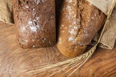 Dwa czarny chleb z ucho banatka Zdjęcia Royalty Free