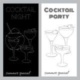 Dwa czarny i biały broszurki dla przyjęć koktajlowe Obraz Royalty Free