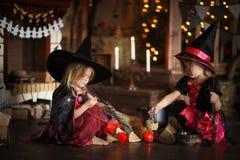 Dwa czarownic mały Halloweenowy czytać czaruje nad garnka childh Zdjęcie Royalty Free