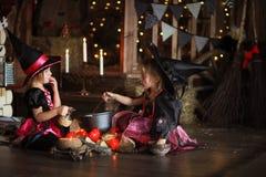Dwa czarownic mały Halloweenowy czytać czaruje nad garnka childh Obrazy Stock