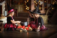 Dwa czarownic mały Halloweenowy czytać czaruje nad garnka childh Obraz Stock