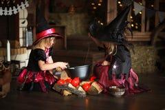 Dwa czarownic mały Halloweenowy czytać czaruje nad garnka childh Fotografia Stock