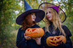 Dwa czarownicy stoi pomarańczowej bani i trzyma Fotografia Royalty Free