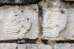 Dwa czaszki rzeźbili na Tzompantli lub czaszki platformie Obrazy Stock
