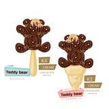 Dwa czekolad lody miś, kreskówka na białym backgro ilustracji