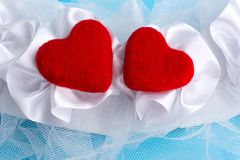 Dwa czerwień czuł serca Zdjęcia Royalty Free