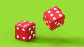 Dwa czerwień dices rolkę na zielonym stole świadczenia 3 d Zdjęcie Royalty Free