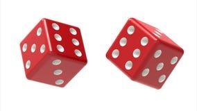 Dwa czerwień dices rolki w powietrzu odizolowywającym na bielu świadczenia 3 d Obrazy Stock