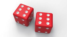 Dwa czerwień dices z sześć kropkami świadczenia 3 d Zdjęcie Royalty Free