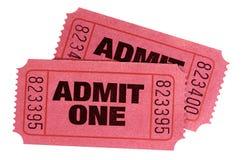 Dwa czerwień przyznaje jeden bilety odizolowywali białego tło fotografia stock