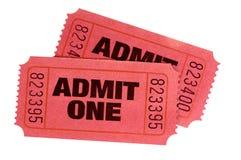 Dwa czerwień przyznaje jeden filmu retro bilety odizolowywających obrazy royalty free