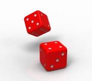 Dwa czerwień dices, 3d rendering Obrazy Royalty Free