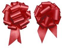 Dwa czerwieni ciągnienia łęku wakacyjny decretive grono issolated na białym tło matek dniu, bożych narodzeniach, Valentine's dn fotografia royalty free