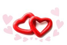 Dwa czerwieni serce odizolowywa Zdjęcie Stock