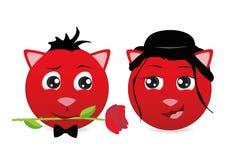 Dwa czerwonego emoticon kota odizolowywającego na Białym tle Emoji wektor Emoticon ikony sieć royalty ilustracja