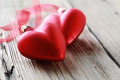Dwa czerwonego serca Fotografia Stock