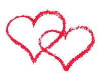 Dwa czerwonego serca zarysowywają wektorową ilustrację na białym tle St walentynki clipart Kredowy tekstury kopii serce obraz stock