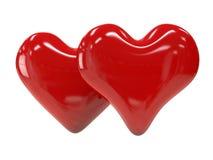 Dwa czerwony błyszczący serce odizolowywający na białym tle zdjęcie royalty free