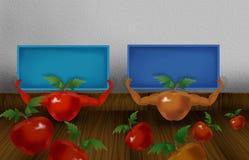 Dwa czerwony i pomarańcze barwiący błyszczący pomidor z rękami i trzymać małą błękitną kolor deskę ilustracyjna Obrazy Royalty Free