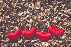 Dwa czerwony serce, valentines dnia pocztówka, kochają was, Ja kochają was Obrazy Royalty Free