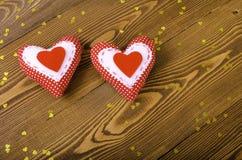 Dwa czerwonych serc zamkniętego up Obraz Stock
