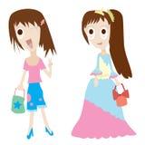 Dwa czule kobiety ilustracja wektor