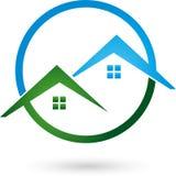 Dwa dachów, domów, nieruchomości i dekarstwa loga, Zdjęcia Royalty Free
